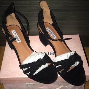 Black Braided Heeled Sandal